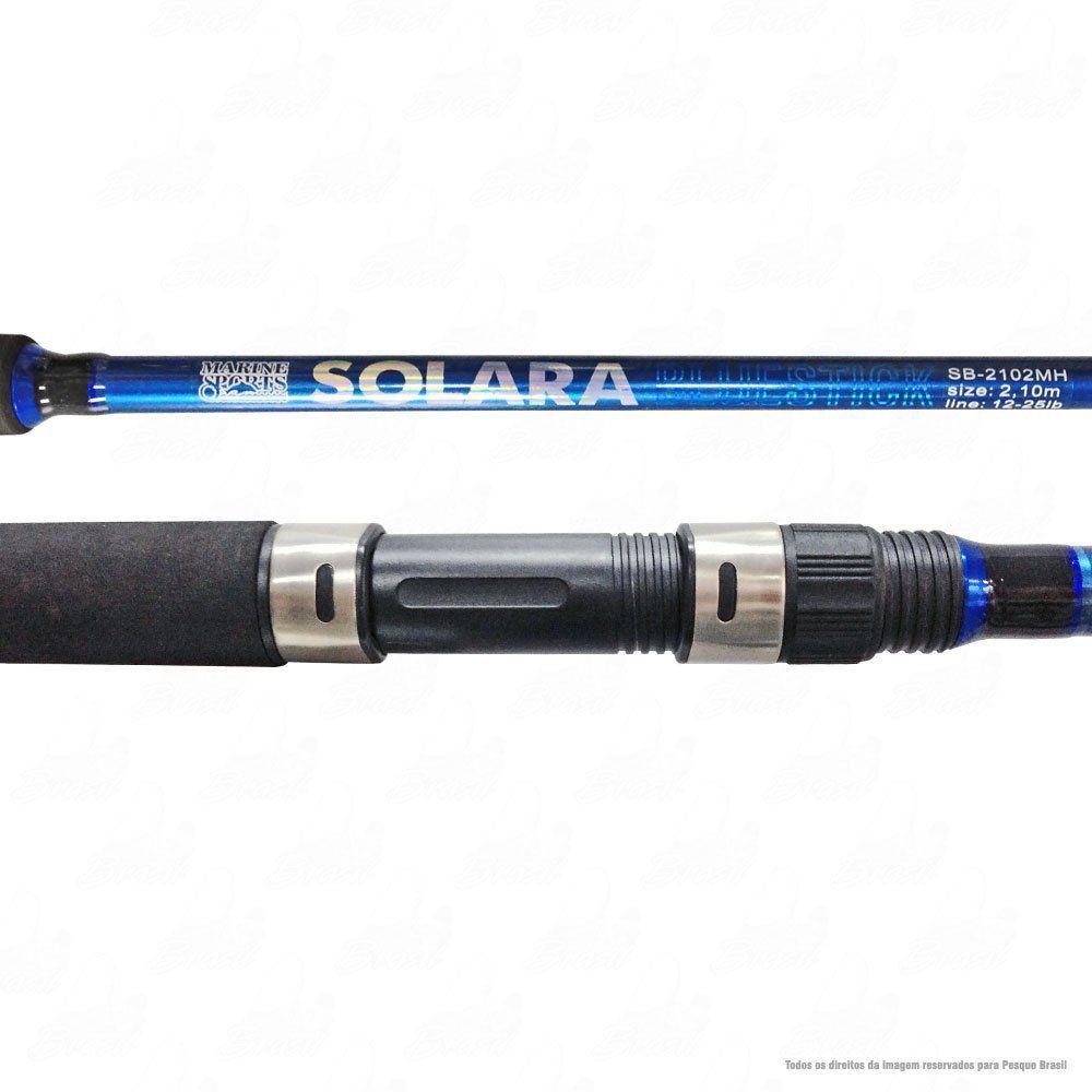 Vara Marine Sports Solara Blue Stick SB-2102MH 2,10m Ação Média Potência Pesada Linha 12-25Lbs Iscas 10-45g Molinete 2 Partes