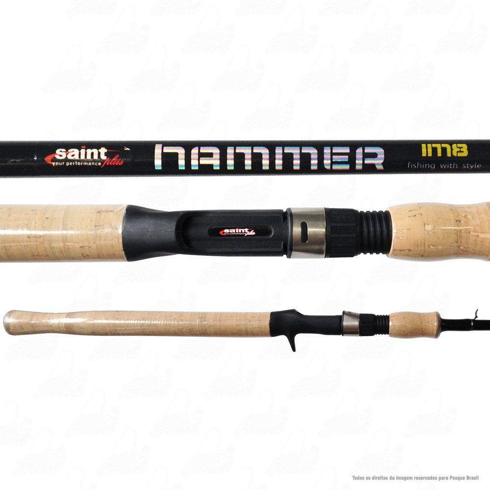 Vara Saint Plus Hammer LBS 601 BC 6'' 1,80m Ação Rápida Potência Média 8-20lb Carbono IM8 Para Carretilha 1 Parte