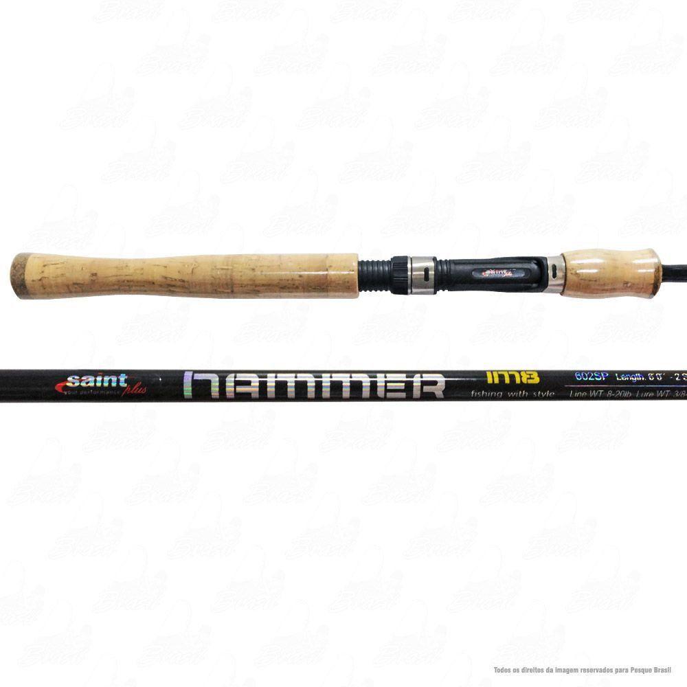 Vara Saint Plus Hammer LBS 602 SP 6'' 1,80m Ação Rápida Potência Pesada 15-30lb Carbono IM8 Para Molinete 2 Partes