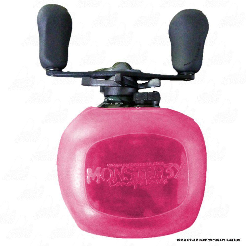 X-Bubble Capa Protetora de Carretilha Monster 3X Cor Rosa Manivela Esquerda