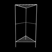 Aparador de Ferro Triangular Estilo Industrial Branco com 2 andares 75cm