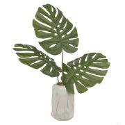 Arranjo de Costela de Adão Artificial Verde com Vaso Mesclado Branco 55cm - 60431
