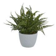 Arranjo de Folhagem Samambaia Artificial Verde com vaso Branco 30cm - 60070