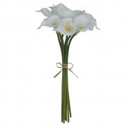 Buquê Artificial de Copo de Leite Branco com Fita 34cm - 39288005