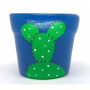 Cachepô de Cerâmica Azul Cacto Pintado 7,5cm x 8cm