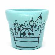 Cachepô de Cerâmica Azul Claro Cactos Felizes 7,5cm x 8cm