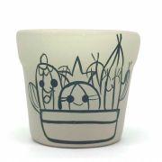 Cachepô de Cerâmica Cinza Cactos Felizes 7,5cm x 8cm