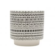 Cachepô de Cerâmica Estampa Étnica Branco e Preto 10,5cm x 10cm - 42549