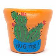 Cachepô de Cerâmica Laranja Cacto Hug Me! 7,5cm x 8cm