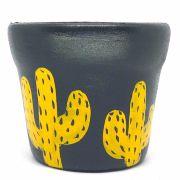 Cachepô de Cerâmica Preto Cactos Amarelos 7,5cm x 8cm