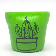 Cachepô de Cerâmica Verde Cacto Feliz 7,5cm x 8cm