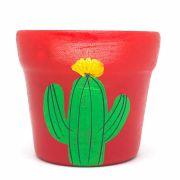 Cachepô de Cerâmica Vermelho Cacto de Coroa 7,5cm x 8cm