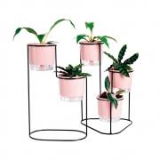 Conjunto Cascata Preto com Vasos Autoirrigáveis Rosa Quartzo