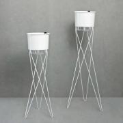 Conjunto Tripés com 2 Vasos Autoirrigáveis Grandes Brancos
