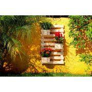 Jardim Vertical 100cm x 60cm com 3 vasos faces de madeira