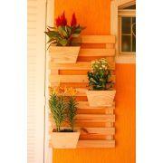 Jardim Vertical 100cm x 60cm com 3 vasos trapézio de madeira