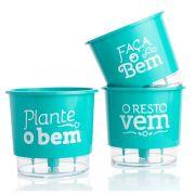 Kit 3 Vasos Autoirrigáveis Pequenos N02 12cm x 11cm Plante o Bem Verde Raiz