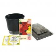 Kit Completo Inicial: Meu Primeiro Plantio de Dália com Vaso Preto + Manual de plantio