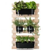 Kit Horta Vertical 100cm x 60cm com 02 Jardineiras Autoirrigáveis Preto + 02 Vasos Médios N03 Gourmet Preto
