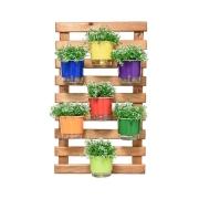 Kit Horta Vertical 100cm x 60cm rústica com 7 Vasos Autoirrigáveis N03 Rainbow
