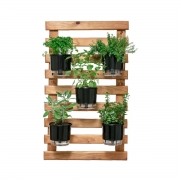 Kit Horta Vertical 100cm x 60cm rústica com 5 Vasos Autoirrigáveis N03 Pretos