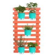 Kit Horta Vertical 100cm x 60cm Treliça Coral com Vasos Verde Raiz
