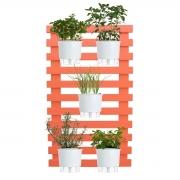Kit Horta Vertical 100cm x 60cm Treliça Coral com Vasos Brancos