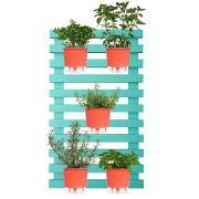 Kit Horta Vertical 100cm x 60cm Treliça Verde Raiz com Vasos Coral