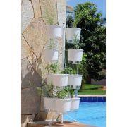 Kit Horta Vertical 10 Vasos Médios Raiz Brancos + Suporte Branco 2.0 + Substrato + Argila
