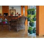 Kit Horta Vertical 10 Vasos Verde Botânico Linha Plantar e Suporte de Chão Branco