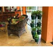 Kit Horta Vertical 10 Vasos Verde Botânico Linha Plantar e Suporte de Chão Preto