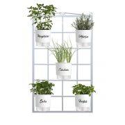 Kit Horta Vertical 5 Vasos Gourmet Branco 100cm x 60cm Acompanha: Treliça Vintage + Vasos + Suportes + Substrato (Não acompanha plantas ou sementes)