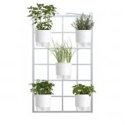Kit Horta Vertical 5 Vasos Brancos 100cm x 60cm Acompanha: Treliça Vintage + Vasos + Suportes + Substrato (Não acompanha plantas ou sementes)