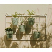 Kit Horta Vertical 60cm x 100cm Vintage Branca com Vasos Verde Menta
