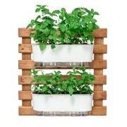 Kit Horta Vertical 60cm x 60cm rústica com 2 Jardineiras Autoirrigáveis Raiz Branco + Substrato + Argila Expandida