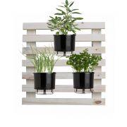 Kit Horta Vertical 60cm x 60cm (Treliça + 3 Vasos + 3 Suportes + 3 Argilas + 3 Substratos)
