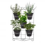 Kit Horta Vertical 80cm x 50cm com 5 Cachepôs de alumínio