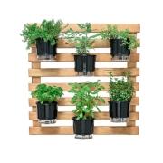 Kit Horta Vertical 80cm x 80cm rústica com 6 Vasos Autoirrigáveis N03 Preto + Substrato + Argila Expandida