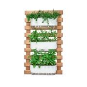 Kit Horta Vertical 100cm x 60cm rústica com 3 Jardineiras Autoirrigáveis Raiz Branco