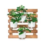 Kit Horta Vertical 60cm x 60cm rústica com 4 Vasos Autoirrigáveis Branco
