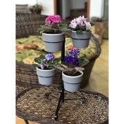 Kit Suporte Preto com 6 Vasos Autoirrigáveis Pequenos Chumbo Linha Plantar