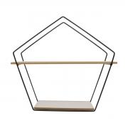 Prateleira Nicho Pentagonal Preto com Tábuas Brancas 30,5cm x 35cm