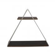 Prateleira Nicho Triangular Branco com Tábuas Pretas 26,5cm x 30cm