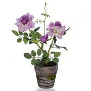 Roseira mini lavanda artificial com vaso 26cm - 15099004