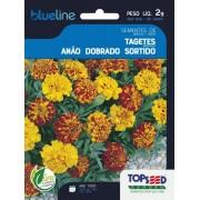 Sementes de Tagetes Anão Dobrado Sortido 2g - Topseed Blue Line