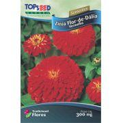 Sementes de Zínia Flor de Dália Vermelha 300mg - Topseed Linha Tradicional