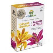 Torta de mamona + Farinha de osso 1 Kg Fertilizante Organomineral Classe A - Vitaplan