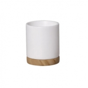 Vaso de Cerâmica Branco com Prato Texturizado Efeito Madeira 17,5cm x 14,4cm - 6107