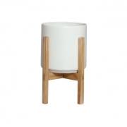 Vaso de Cerâmica Branco Grande com Suporte de Madeira - 6109