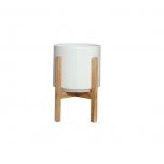 Vaso de Cerâmica Branco Pequeno com Suporte de Madeira - 6110